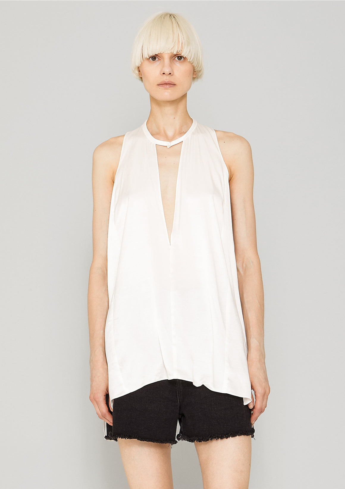 SHIRT - SILKY RAYON SATIN white