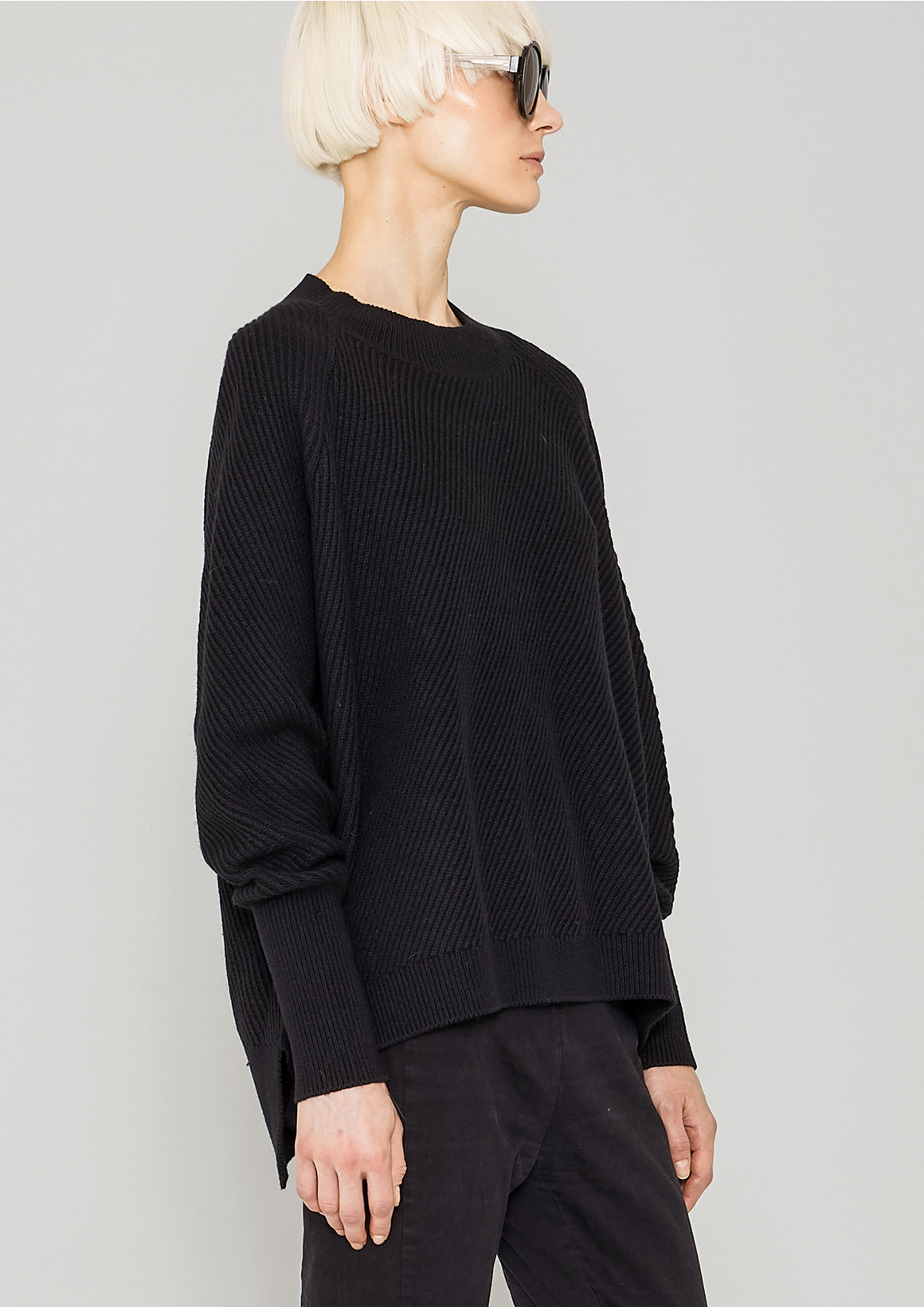 SWEATER - KNIT BIAS RIB black