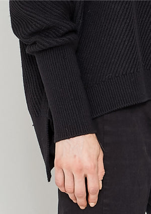 SWEATER - KNIT BIAS RIB black - BERENIK