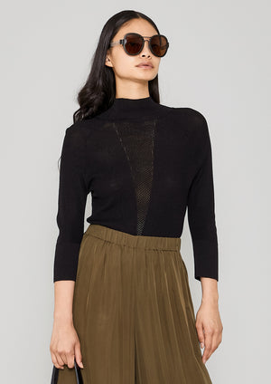 SHIRT TURTLENECK - KNIT TRANSPARENT black