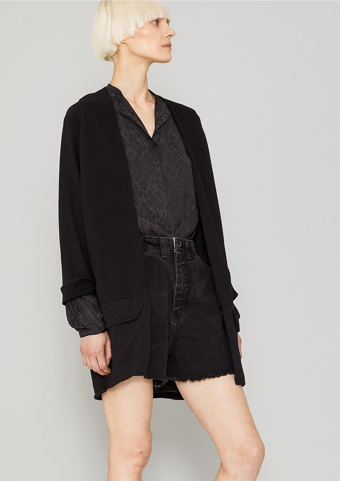 CARDIGAN - COTTON JERSEY black