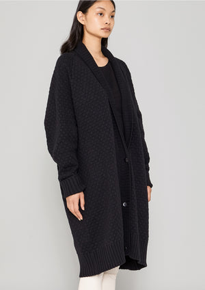 CARDIGAN - KNIT PEARL black