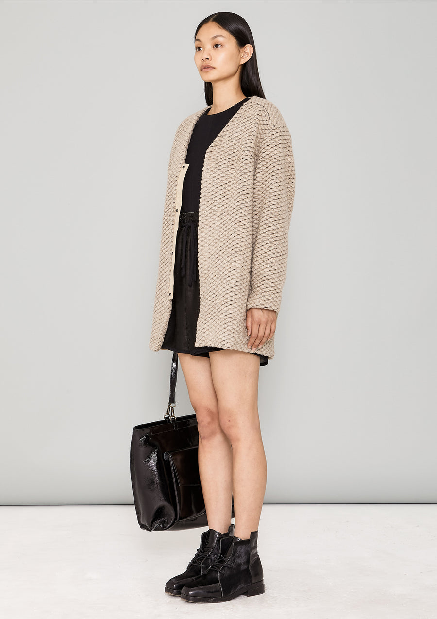 CARDIGAN - WOOL BLEND KNIT beige