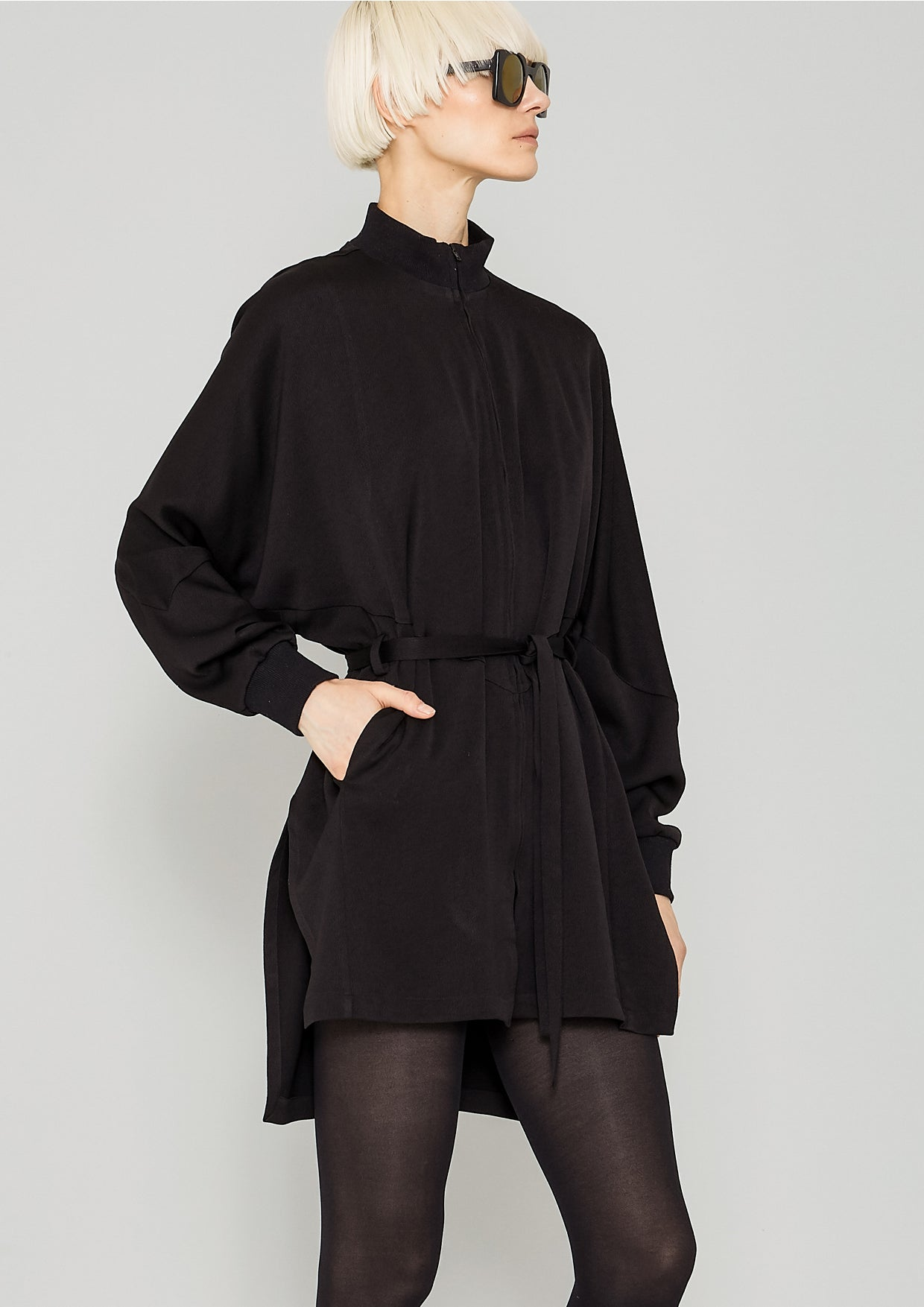 76e1f93836 JACKET DRESS - HEAVY DRAPING black