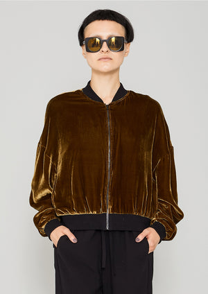 BOMBER JACKET - SILK VELVET gold