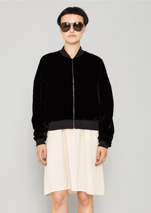 BOMBER JACKET - SILK VELVET black