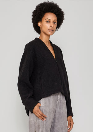CARDIGAN SHORT - WOOL BLEND black