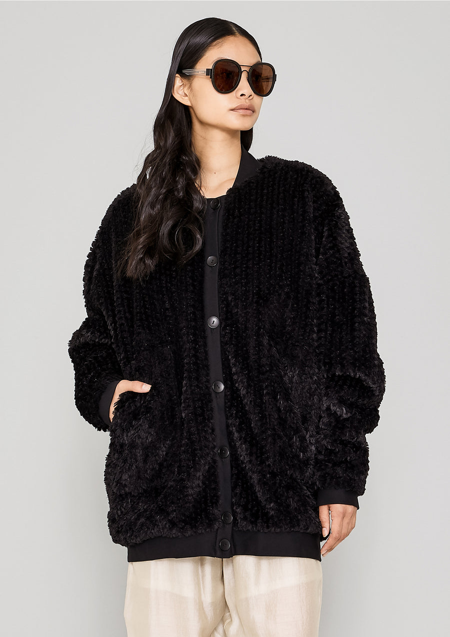 PILOT JACKET - FAUX FUR black