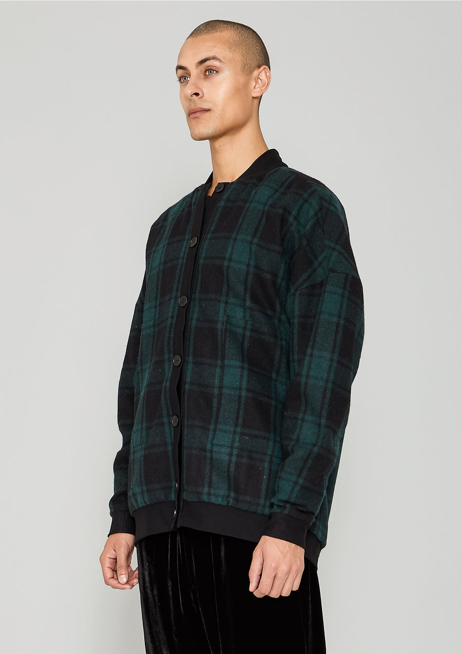 PILOT JACKET - WOOL FLANNEL CHECK black/green