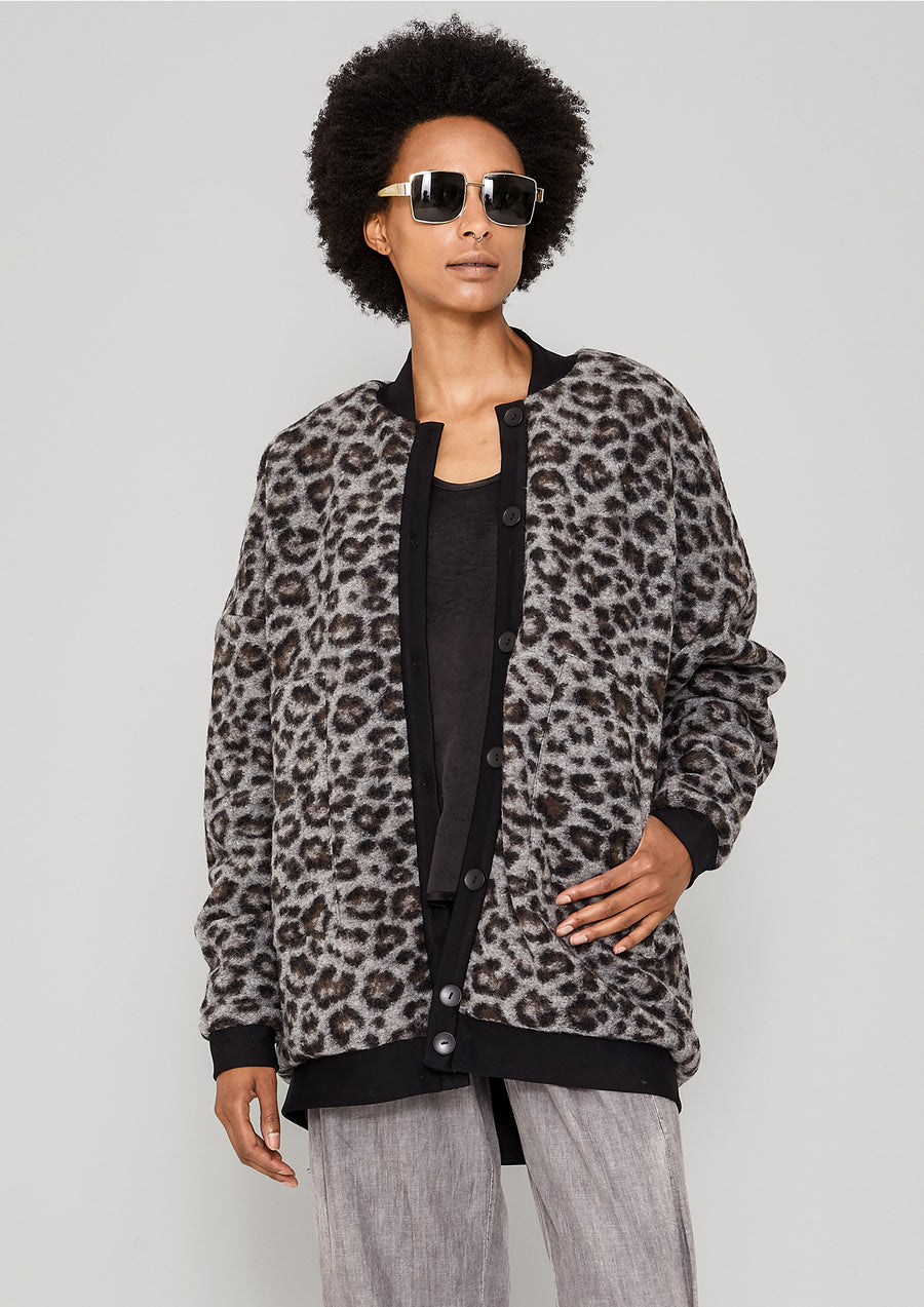 PILOT JACKET - WOOL COATING animal print / FAUX FUR LINING black