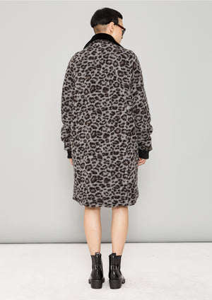COAT FUR LINING - WOOL COATING animal print