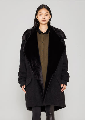 COAT FUR LINING - WOOL BLEND black