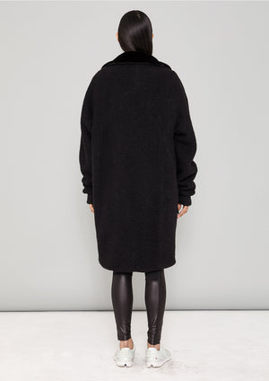 COAT FUR LINING - WOOL BLEND black - BERENIK