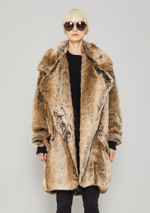 COAT FUR LINING - FAUX RACOON black/beige