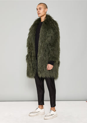 COAT FUR LINING - FAUX FUR SHAGGY dark green