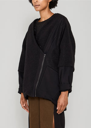 COAT ZIP - WOOL BLEND black