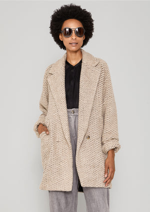 COAT WOOL - BLEND RHOMB KNIT beige