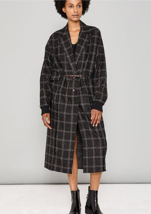 COAT LONG - TWEED black/white