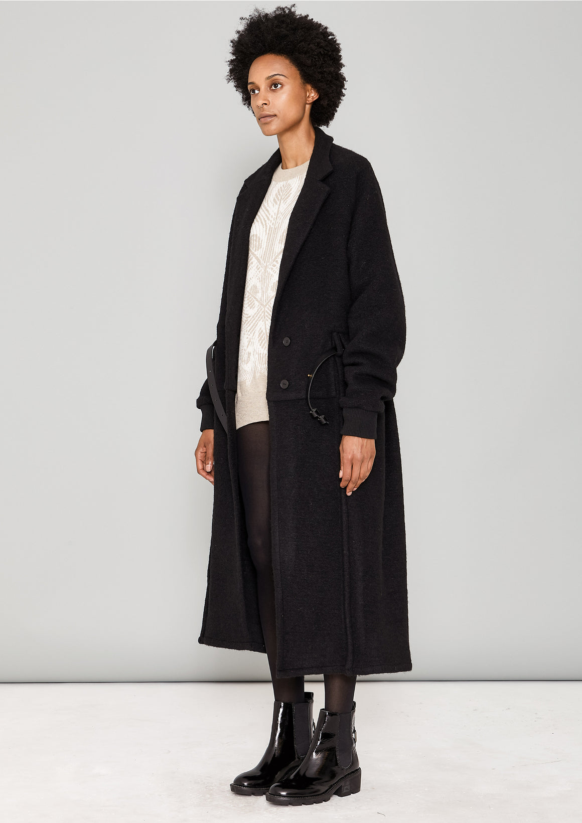 COAT LONG - WOOL BLEND black - BERENIK