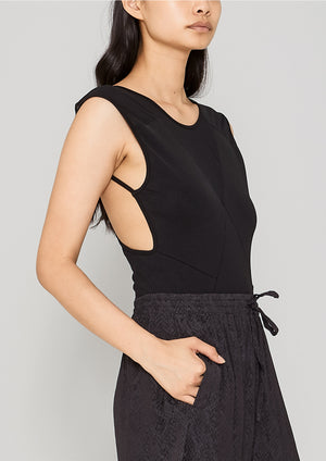 BODYSUIT SLEEVELESS - HIGH DENSIT KNIT black