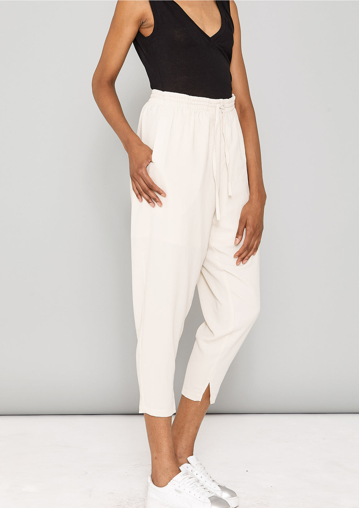 PANTS LOOSE ELASTIC - SILKY STRETCH CREPE beige