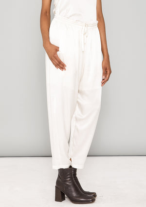 PANTS LOOSE ELASTIC - SILKY RAYON SATIN white