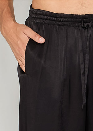 PANTS LOOSE ELASTIC - SILKY RAYON SATIN black
