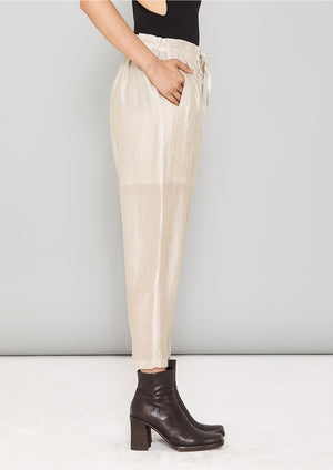 PANTS LOOSE ELASTIC - SILKY TENCEL LIGHT creme