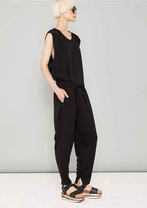 PANTS LOOSE ELASTIC - HEAVY DRAPING black