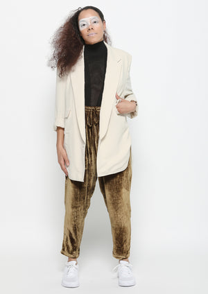 PANTS LOOSE ELASTIC- SILK VELVET gold