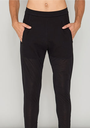 PANTS PATCHWORK - COTTON JERSEY black transparent/opaque