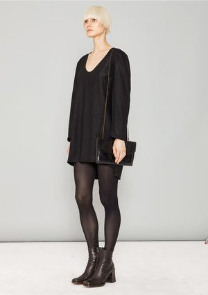 SWEATER/DRESS SIDE ZIP - FANCY TECH LACES black shiny