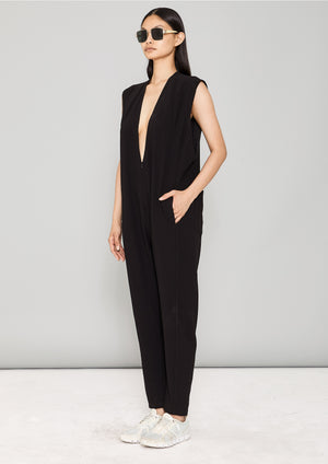 JUMPSUIT SLEEVELESS - HEAVY DRAPING black