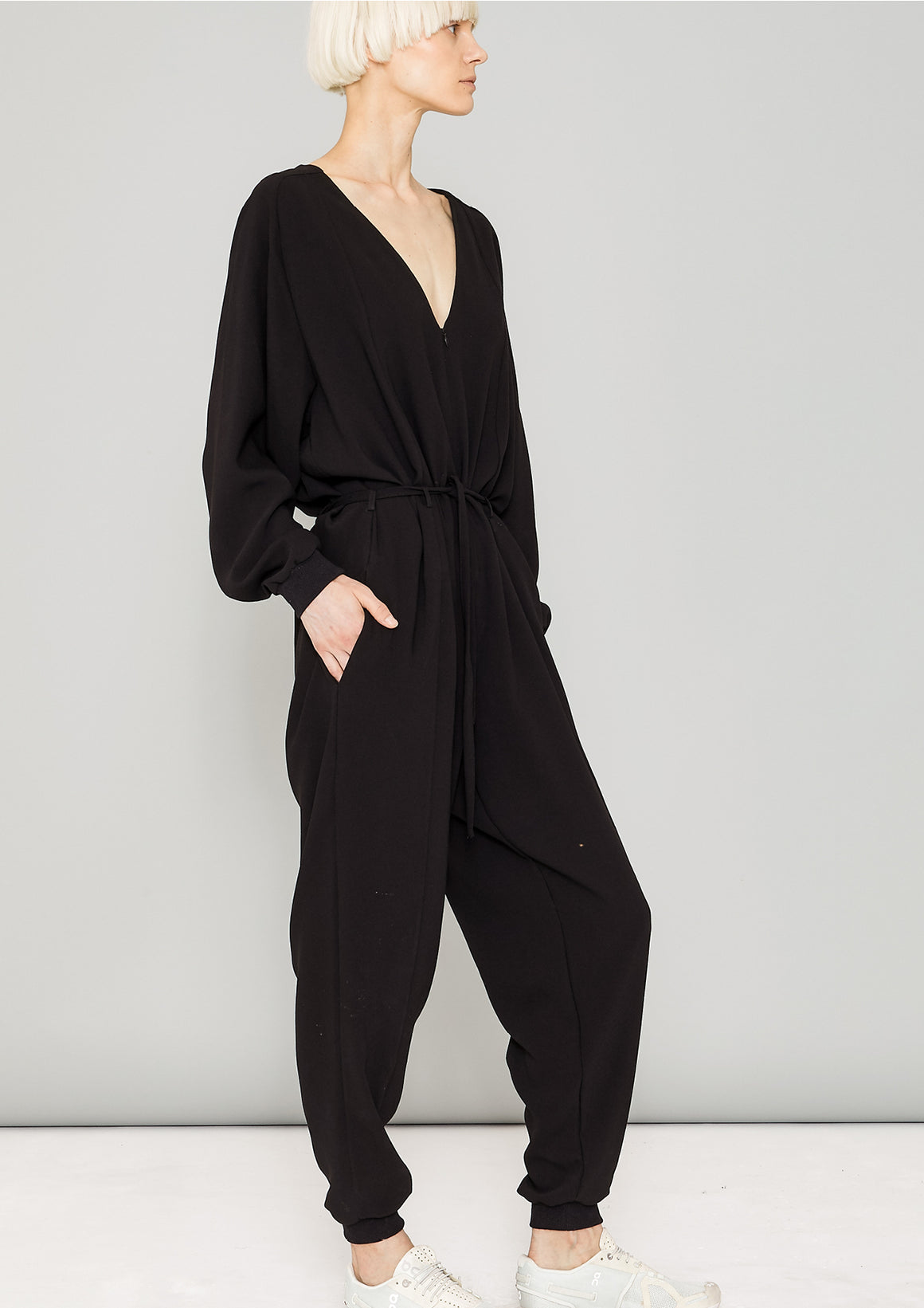 JUMPSUIT LONG OVERSIZED - HEAVY DRAPING black