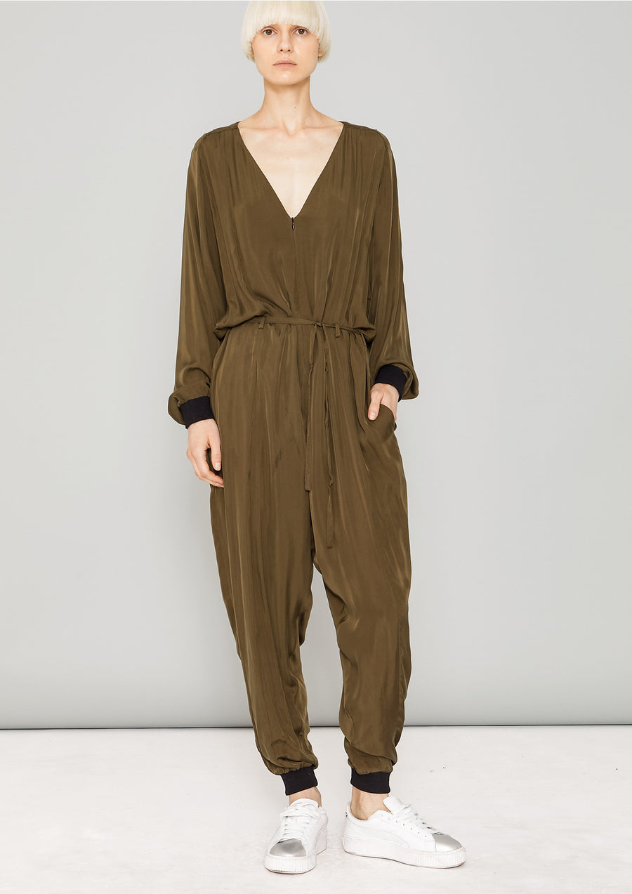 JUMPSUIT LONG OVERSIZED - SILKY CUPRO khaki