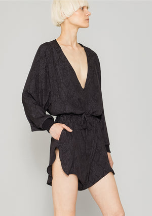 JUMPSUIT SHORT OVERSIZED -  JACQUARD SATIN black snake - BERENIK