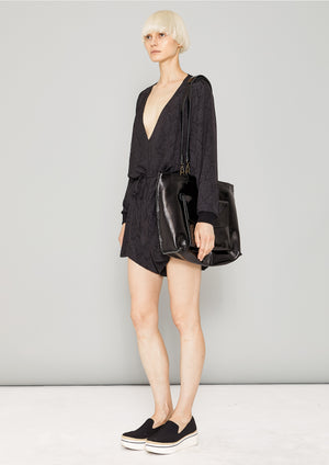 JUMPSUIT SHORT OVERSIZED -  JACQUARD SATIN black snake