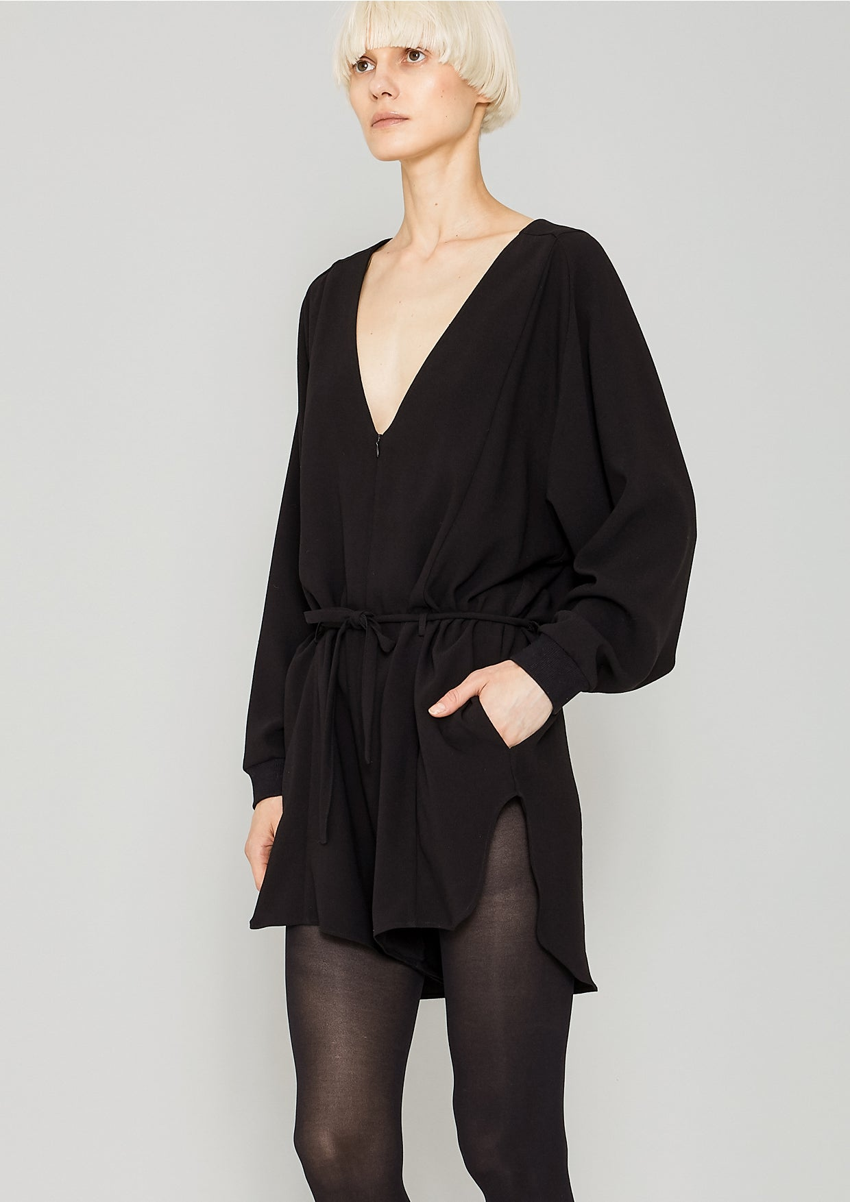 feb09a27ad JUMPSUIT SHORT OVERSIZED - HEAVY DRAPING black