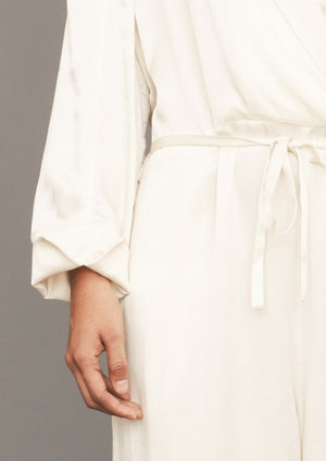 JUMPSUIT REVERS LONG - SILKY RAYON white