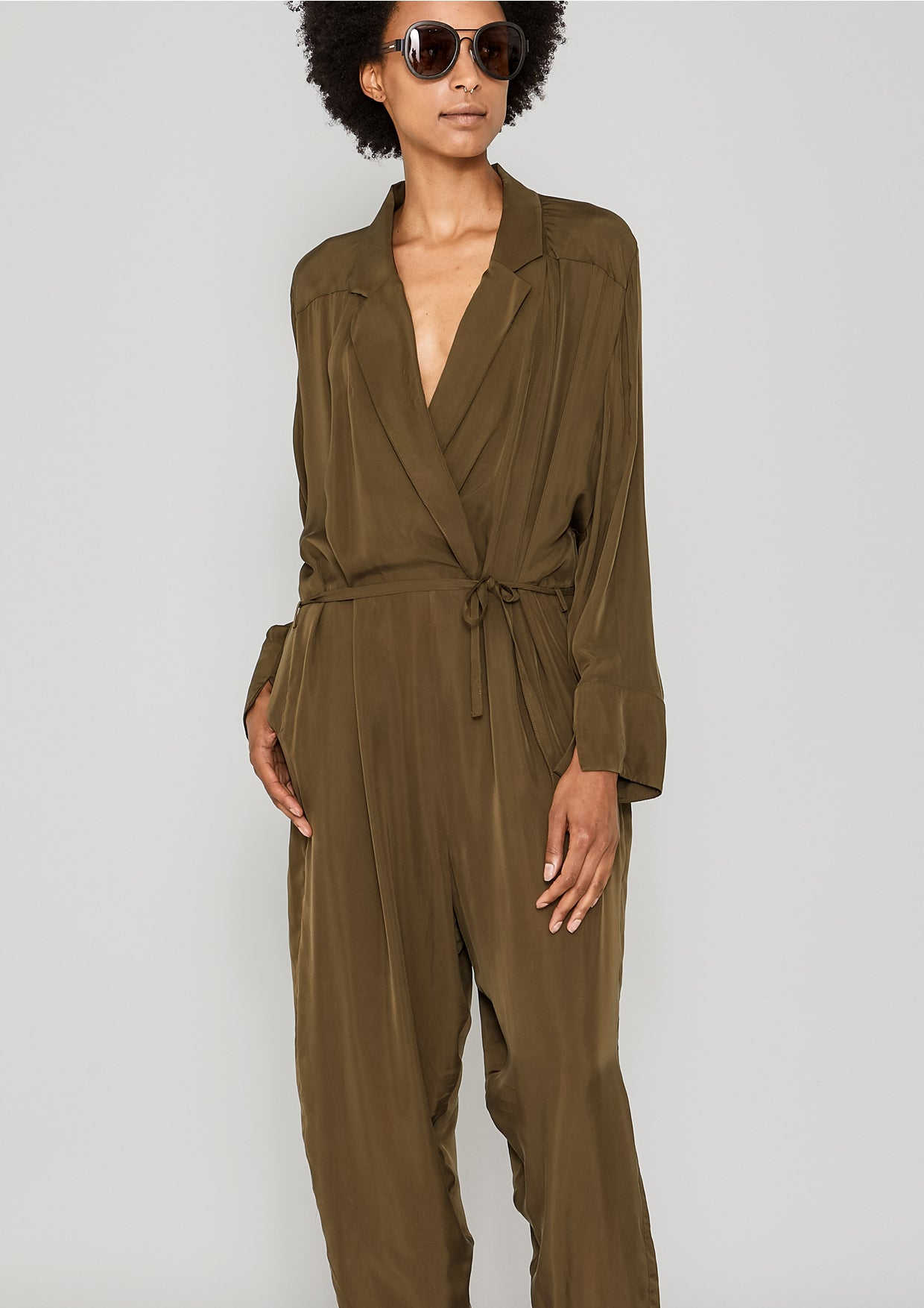 2e6bb95507de JUMPSUIT REVERS LONG - SILKY CUPRO khaki