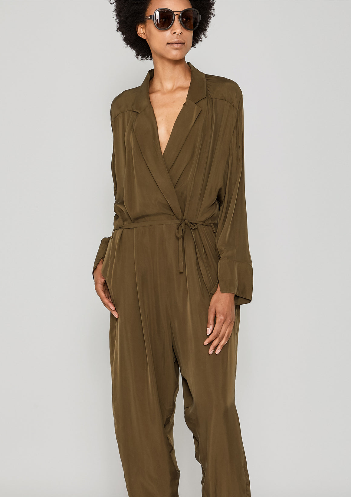 JUMPSUIT REVERS LONG - SILKY CUPRO khaki