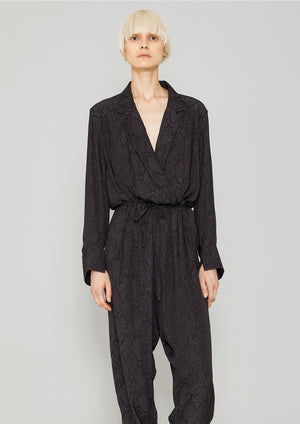JUMPSUIT REVERS LONG - JACQUARD SATIN black snake