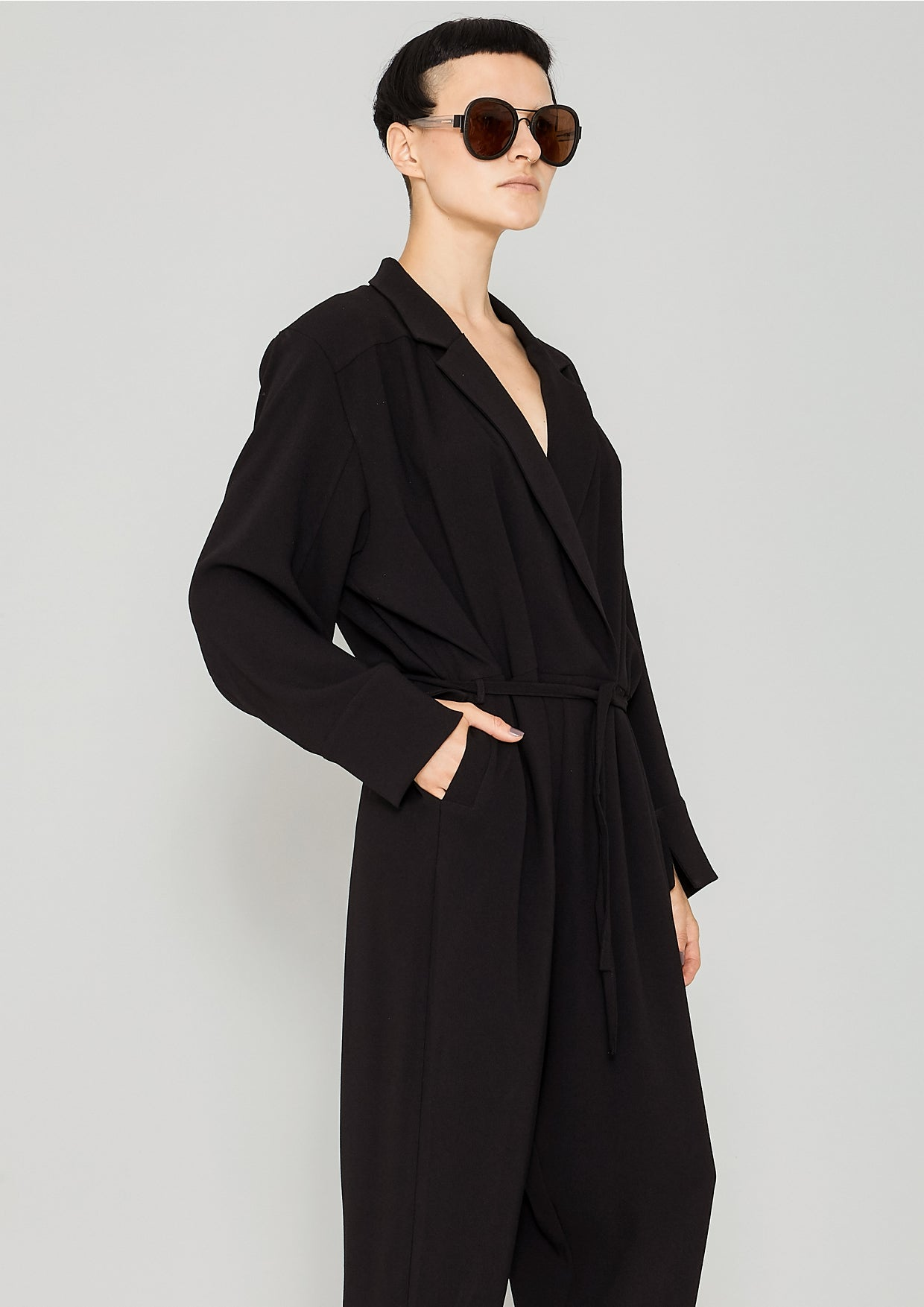 b797940fda7a JUMPSUIT REVERS LONG - HEAVY DRAPING black - BERENIK