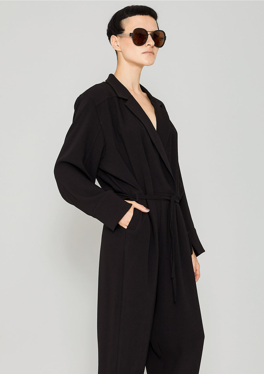 JUMPSUIT REVERS LONG - HEAVY DRAPING black