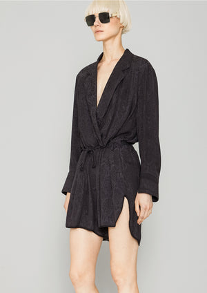 JUMPSUIT REVERS SHORT - JACQUARD SATIN snake black