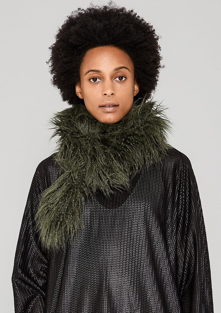 SCARF - FAUX FUR SHAGGY dark green - BERENIK