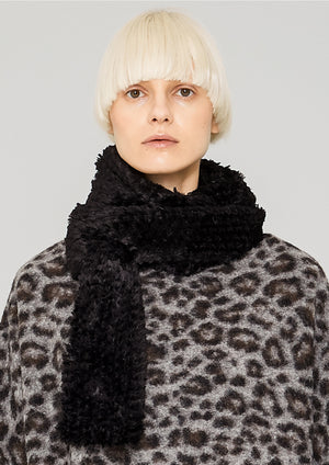 SCARF - FAUX RHOMB FUR black