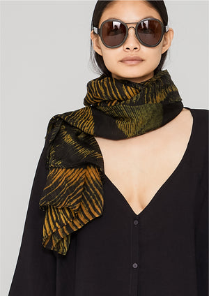 SCARF - SILK MOUSSELINE printed feather gold