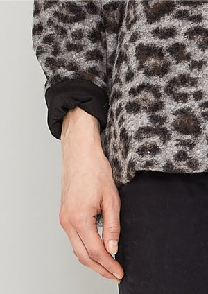 SWEATER POCKETS - WOOL COATING animal print