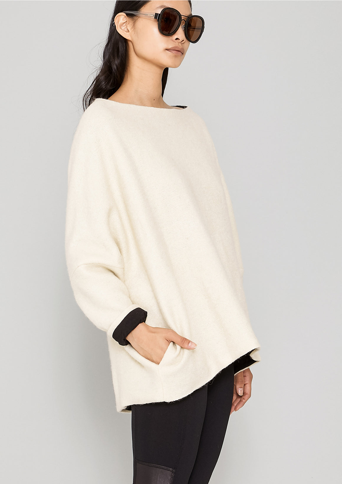 SWEATER POCKETS - WOOL BLEND ivory - BERENIK